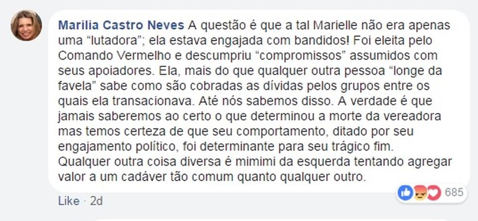Comentário da desembargadora Marília Castro  Neves sobre  Marielle (Foto: Reprodução/ Facebook)