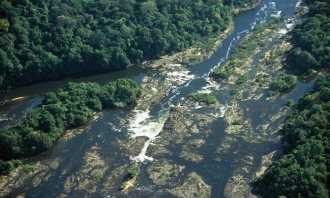 Vista aérea do Rio Jari : a região protegida pela reserva de Iratapuru guarda uma das florestas mais espetaculares de toda a Amazônia (Foto: Conservação Internacional / Agência O Globo)