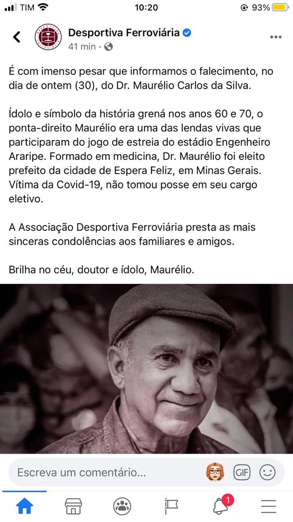 Desportivo Ferroviária também prestou homenagem ao prefeito eleito de Espera Feliz — Foto: Facebook/Reprodução