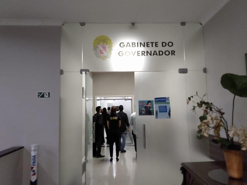 Gabinete de Helder Barbalho foi alvo de operação da PF. — Foto: Divulgação/ Polícia Federal