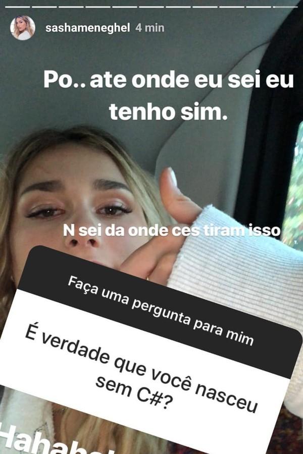 Sasha Meneghel (Foto: Instagram/Reprodução)