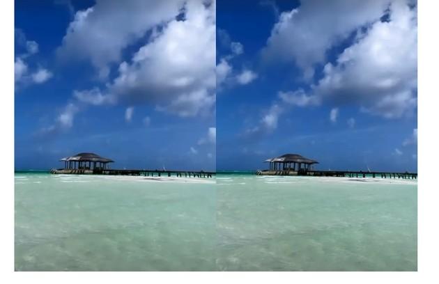 A modelo mostra o cenário paradisíaco onde fica o hotel em que está hospedada (Foto: Reprodução)