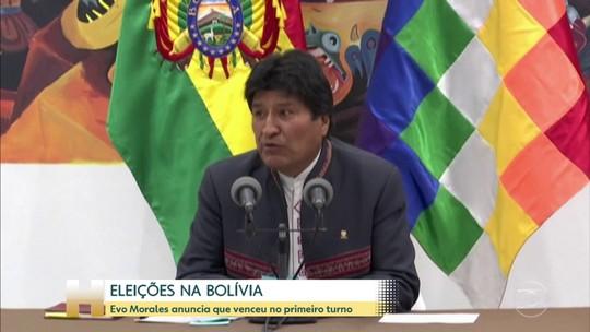 Antes do fim das apurações, Evo Morales anuncia que venceu no 1º turno na Bolívia