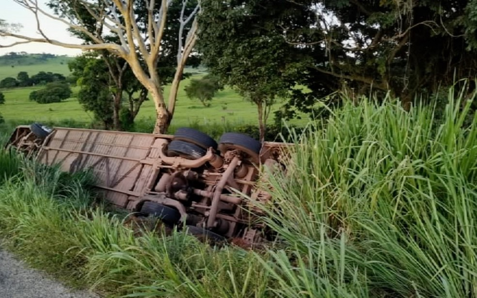 Ônibus ficou com as rodas para cima após tombar e cair em ribanceira — Foto: TV Anhanguera/Reprodução