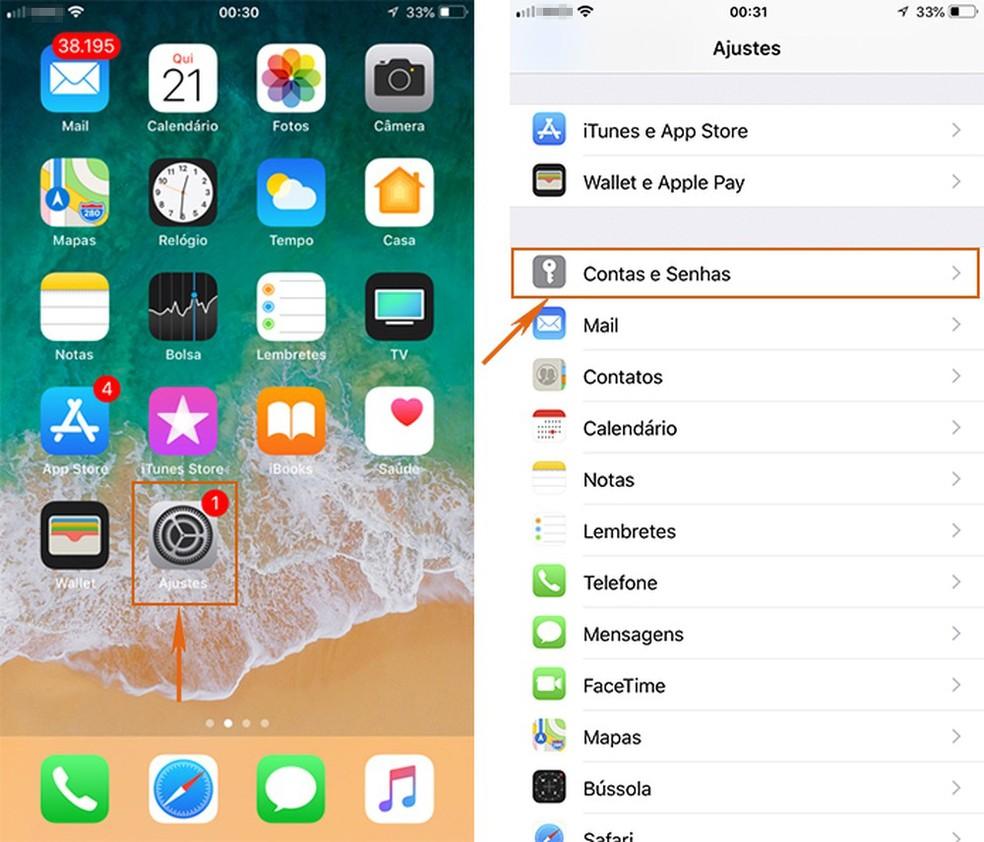 Acesse o menu de Contas e Senhas nos Ajustes do iPhone (Foto: Reprodução/Barbara Mannara)