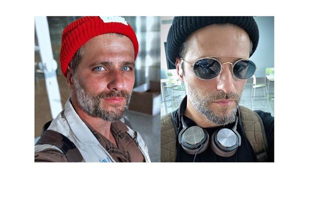 À direita, em foto de fevereiro, Bruno posa com o rosto mais fino. Ator começará gravações de série para a Netflix até junho deste ano (Foto: Bruno Gagliasso)