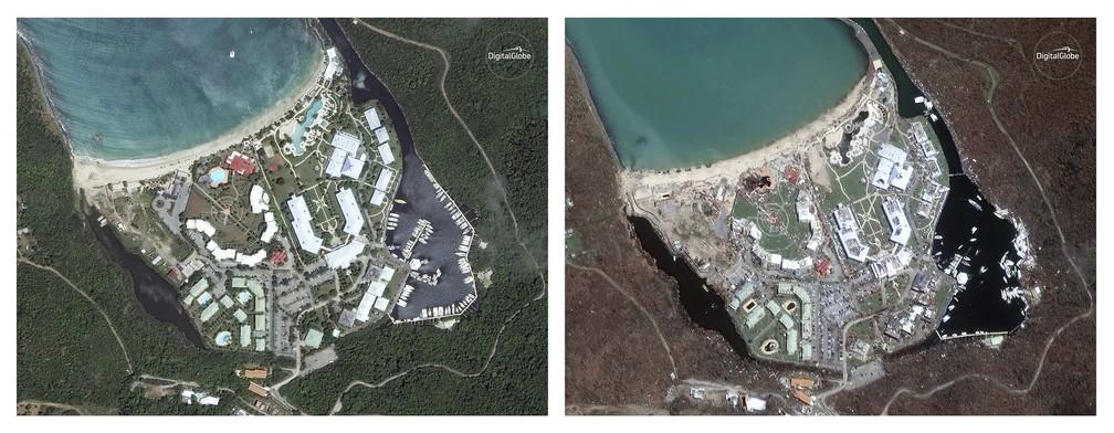 Antes e depois da praia de Anse Marcel, em Saint Martin (Foto: DigitalGlobe via AP)