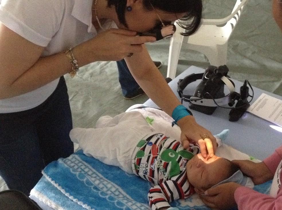 Evento realizou teste do olhinho para crianças em Porto Velho — Foto: Matheus Henrique/G1