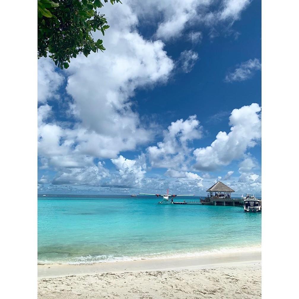 Renato Góes mostra foto da vista de sua suíte nas Maldivas  — Foto: Reprodução Instagram