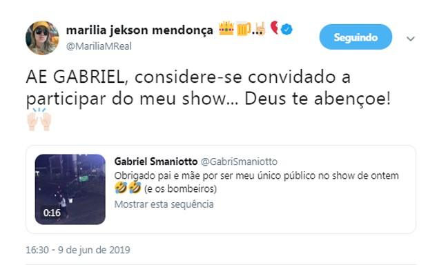Marilia Mendonça convida Gabriel Smaniotto para show (Foto: Reprodução/Instagram)