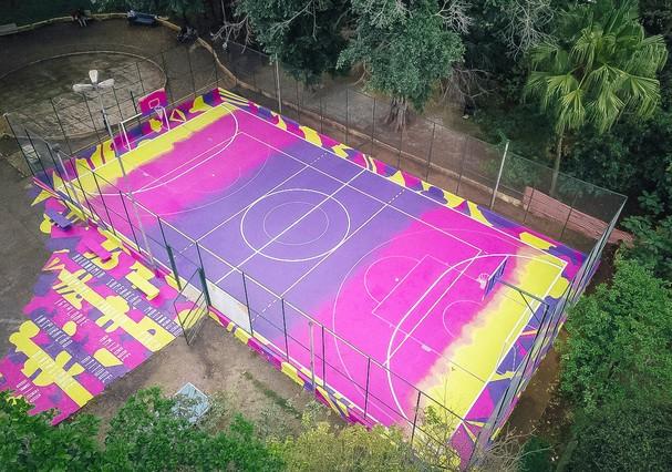 A nova quadra: rosa, amarela e roxa (Foto: Divulgação)