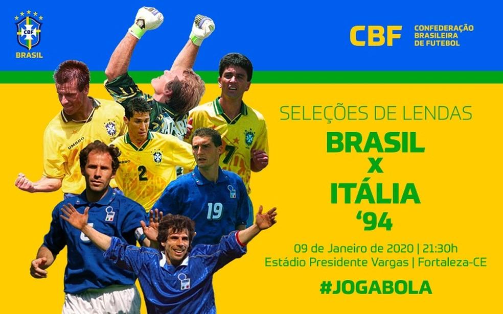 CBF promove jogo festivo entre seleção de lendas de Brasil e Itália da final da Copa do Mundo de 1994 — Foto: Reprodução