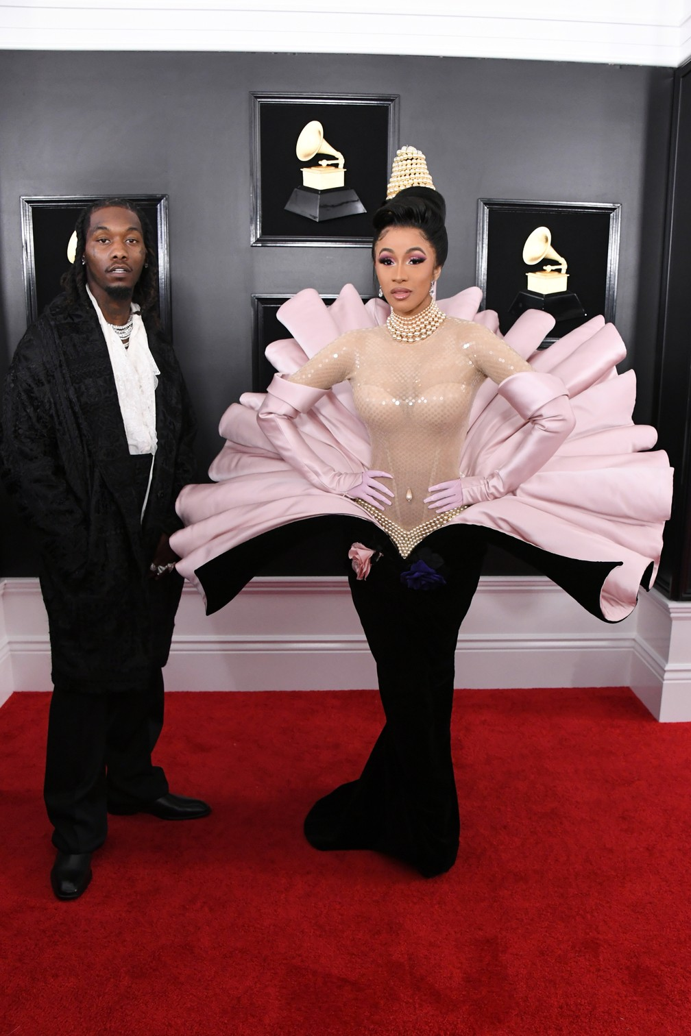 Os rappers Offset e Cardi B no Grammy 2019, em Los Angeles — Foto: Jon Kopaloff / GETTY IMAGES NORTH AMERICA / AFP