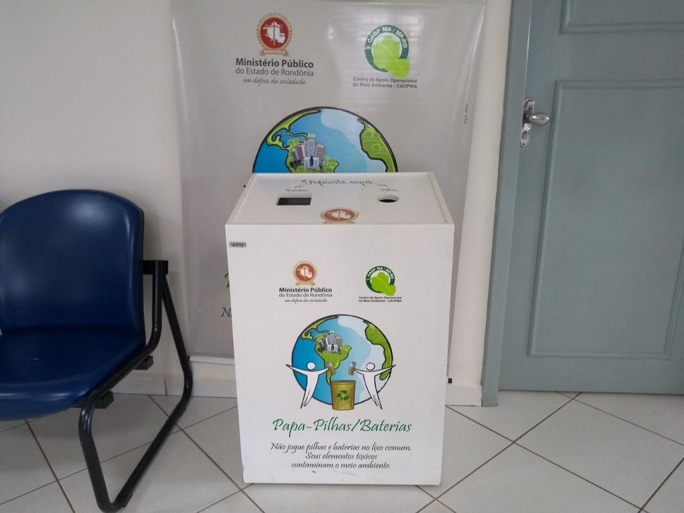 Ministério Público tem ponto de coleta de pilhas e baterias em Vilhena — Foto: Eliete Marques/G1