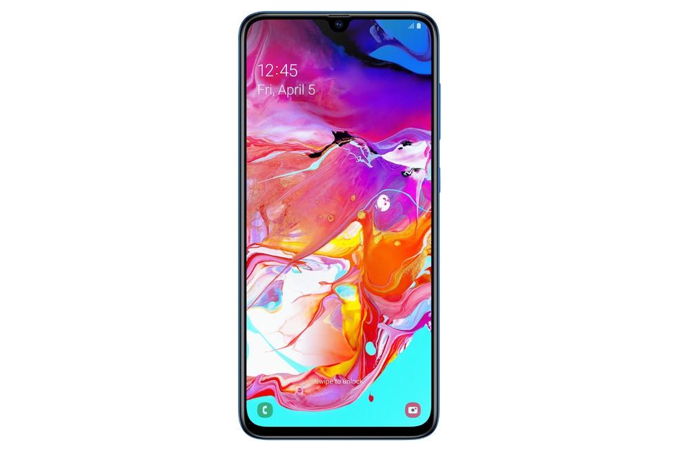 Galaxy A70: celular conta com notch em forma de gota d'água — Foto: Divulgação/Samsung