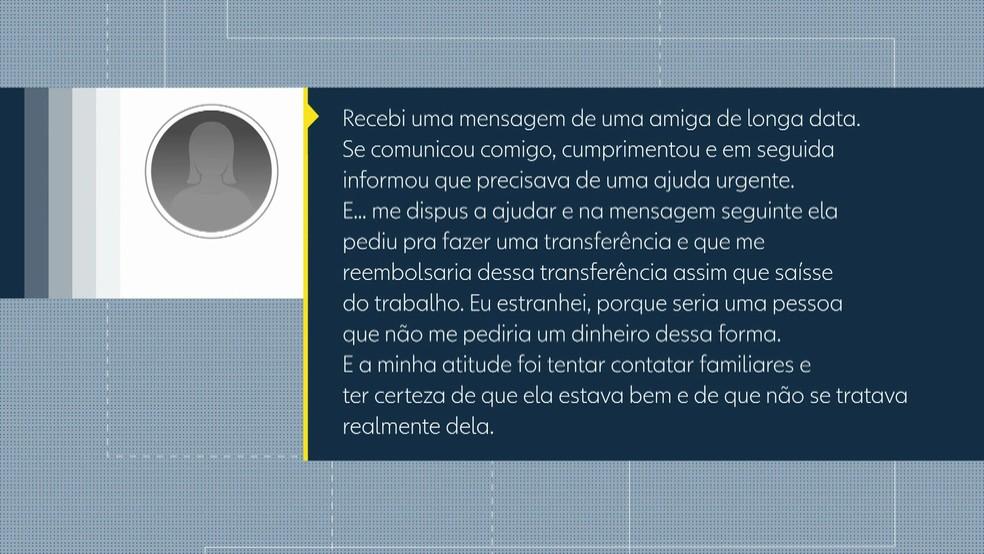 Em áudio enviado à equipe da TV Globo, moradora de Olinda, que não quis se identificar, relata como quase caiu em golpe via WhatsApp (Foto: Reprodução/TV Globo)