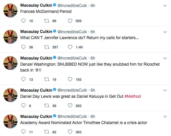 Algumas das piadas do ator Macaulay Culkin durante o Oscar 2018 (Foto: Twitter)
