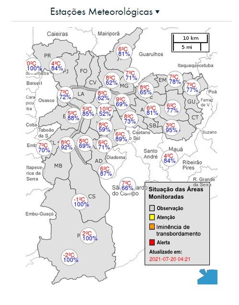 Os bairros mais gelados, segundo o CGE, foram Marsilac, com -2°C, e Capela do Socorro, com -1°C, ambos no Extremo Sul — Foto: Reprodução / CGE