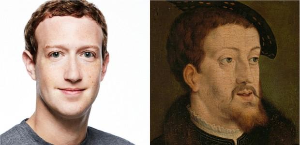 Mark Zuckerberg e Charles V, gêmeos separados pelo Google (Foto: Reprodução/Google Arts & Culture)