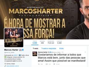 Família do ex-BBB Marcos escreve mensagem em rede social (Foto: Twitter/ Reprodução)