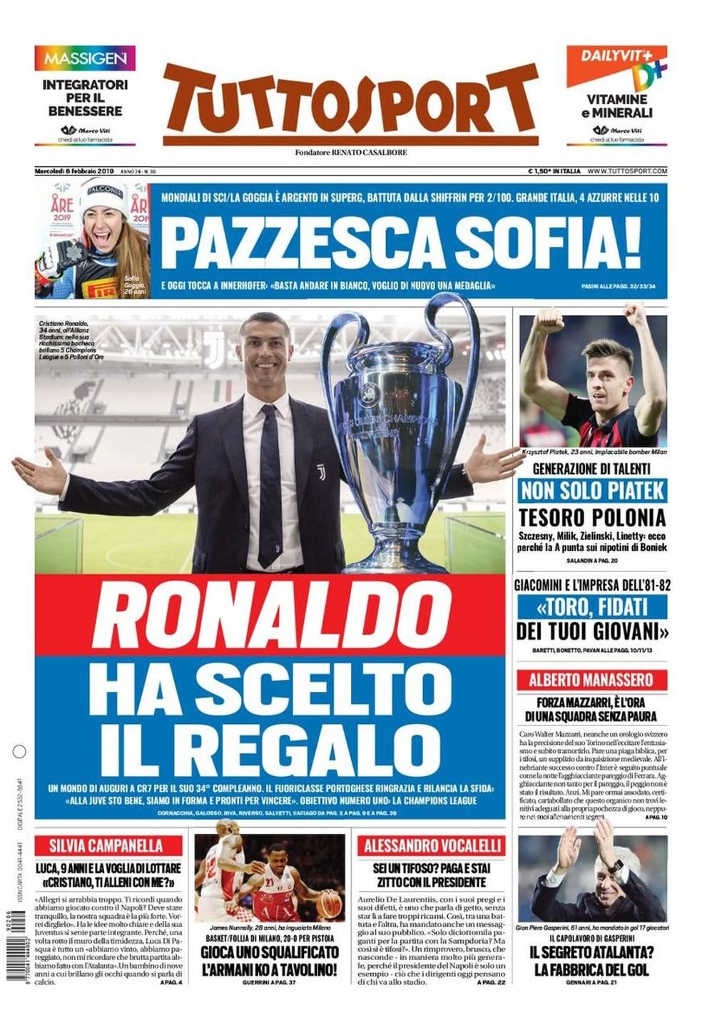 Capa do Tuttosport: Ronaldo escolheu o presente — Foto: Reprodução