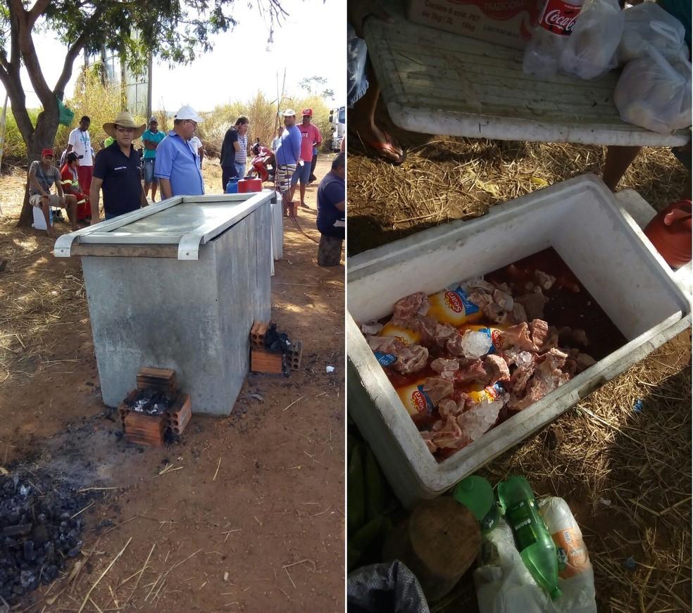 Fazendeiros da região de Uruçuí doaram alimentos e uma churrasqueira improvisada para os manifestantes. (Foto: Eduardo Gomes/ Arquivo pessoal)