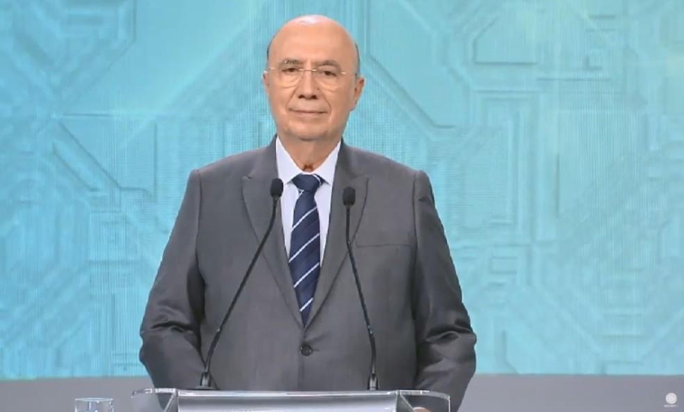 O candidato do MDB à Presidência, Henrique Meirelles, no debate da Rede Record — Foto: Reprodução