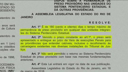 MP entra na Justiça pedindo suspensão da lei que limita em 180 dias prazo em prisões provisórias no RJ
