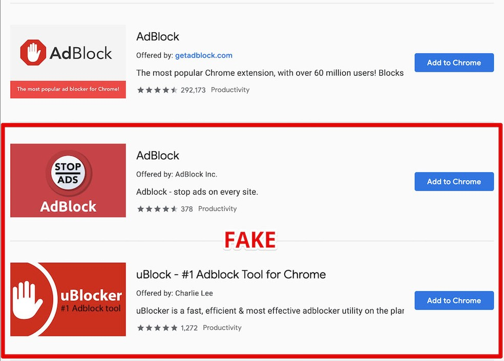 Extensions used names almost identical to those of other popular ad blockers. - Photo: AdGuard