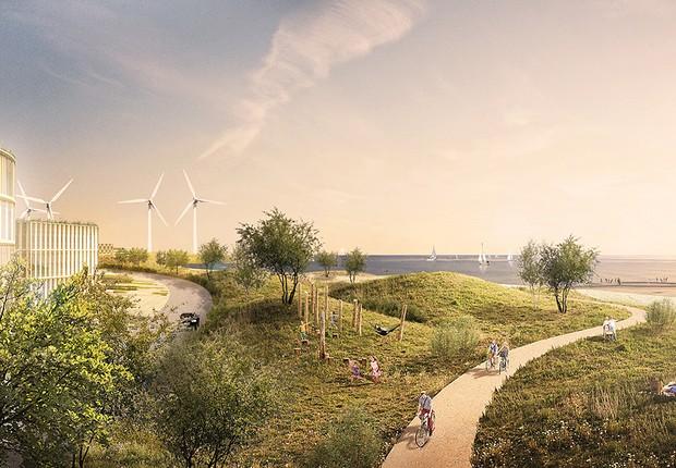 Projeto de ilhas artificiais em Copenhagen, Dinamarca (Foto: Reprodução/Urban Power)