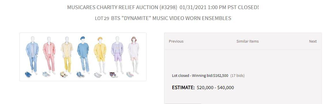 Look do grupo BTS usado no clipe Dynamite foi leiloado por R$ 889,6 mil (Foto: Reprodução / Juliens Auctions)