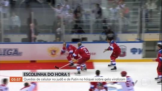 Escolinha do H1: quedas de celular no judô e de Putin no hóquei sobre gelo viralizam