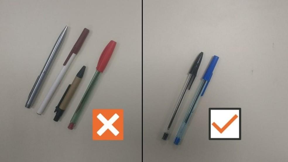 Candidatos deverão utilizar caneta esferográfica, de material transparente e tinta azul ou preta — Foto: Ilustração: Diogo Almeida/G1