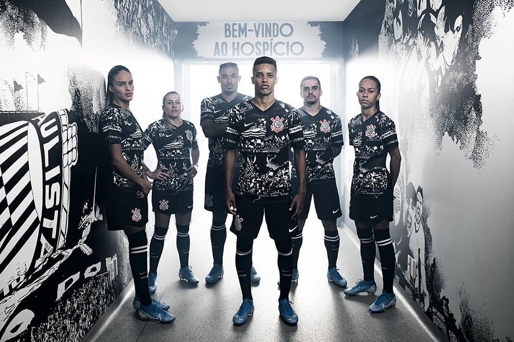 Fotos do lançamento da nova terceira camisa do Corinthians — Foto: Divulgação/Nike