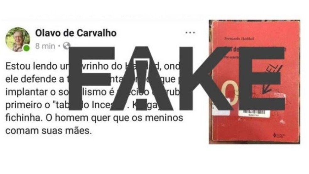 Post feito por Olavo de Carvalho — Foto: Reprodução