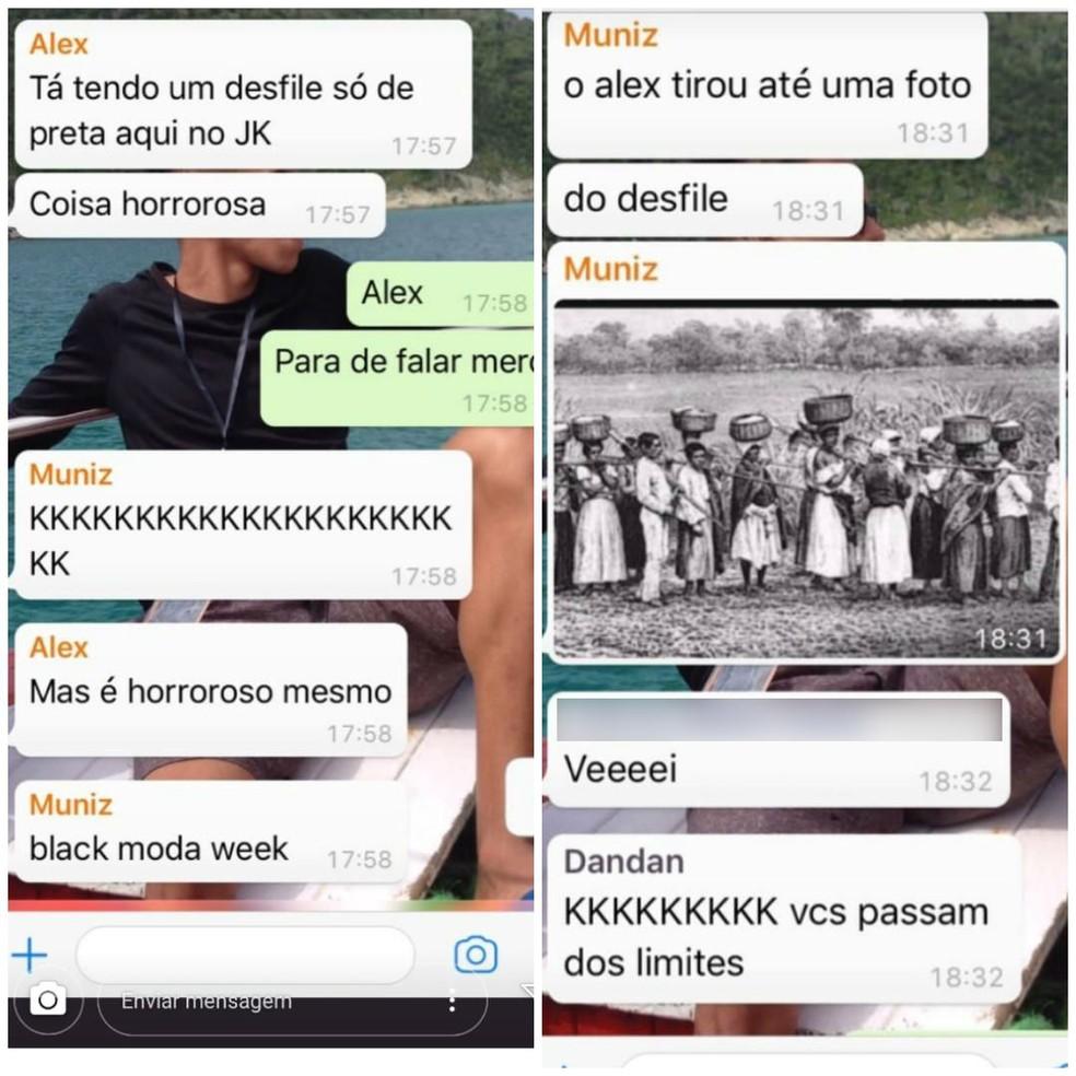 Em grupo de WhatsApp, homens ofendem mulheres que participavam de concurso de desfile em shopping do Distrito Federal — Foto: Reprodução