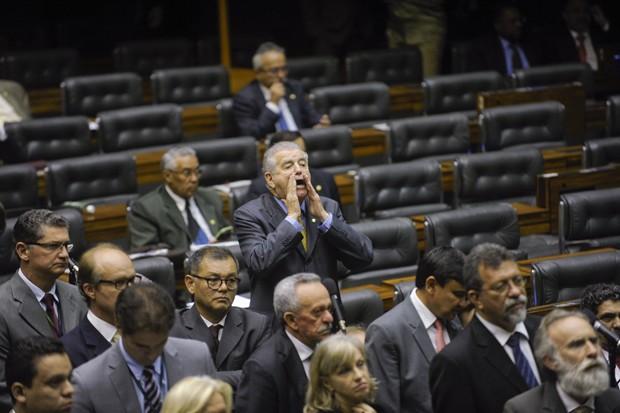 Parlamentares se manifestam durante sessão conjunta do Congresso Nacional em 2014 (Foto: Congresso Nacional/Twitter)