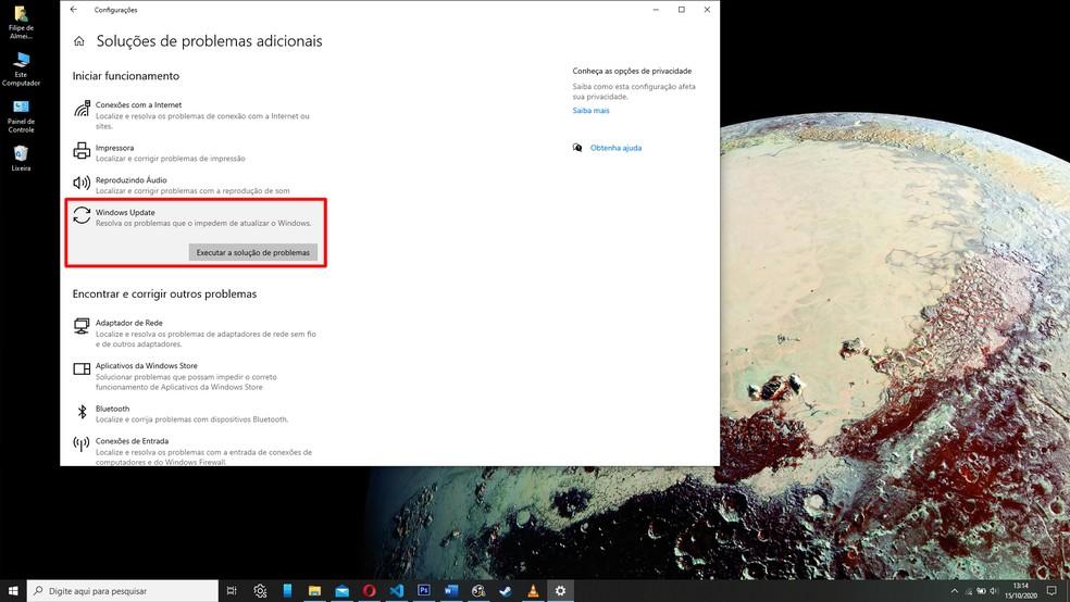 Execute a verificação de problemas específica do Windows Update — Foto: Reprodução/Filipe Garrett