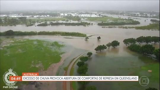 Excesso de chuva provoca abertura de comportas de represa em Queensland na Austrália