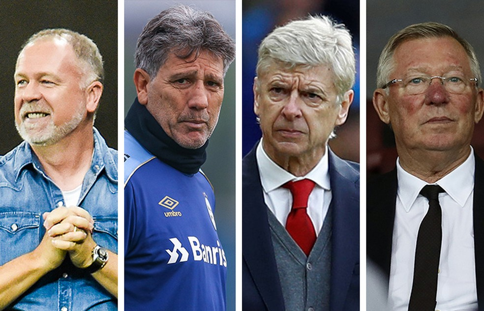Técnicos duradouros no comando: Mano Menezes, Renato Gaúcho, Arsène Wenger, Alex Ferguson — Foto: Infoesporte
