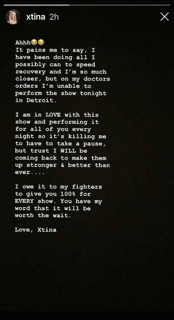 A mensagem compartilhada por Christina Aguilera pedindo desculpas pelo cancelamento de seu show (Foto: Instagram)