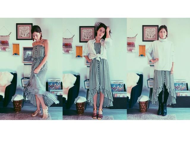 Adriana Zemel mostra como um vestido de alcinha, típico do verão, pode se transformar até em figurino para os dias mais frios (Foto: Arquivo pessoal)