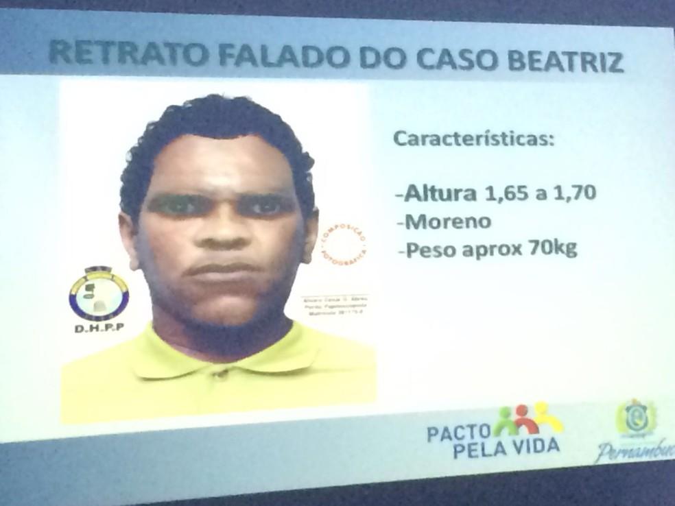 Retrato falado do suspeito de matar garota Beatriz, em Petrolina — Foto: Thays Estarque/G1