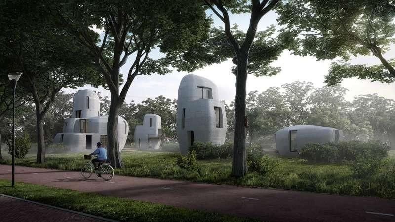 Imagem que mostra como serão casa de impressão 3D que serão levantadas em Eindhoven, Holanda (Foto: Divulgação/Project Milestone)