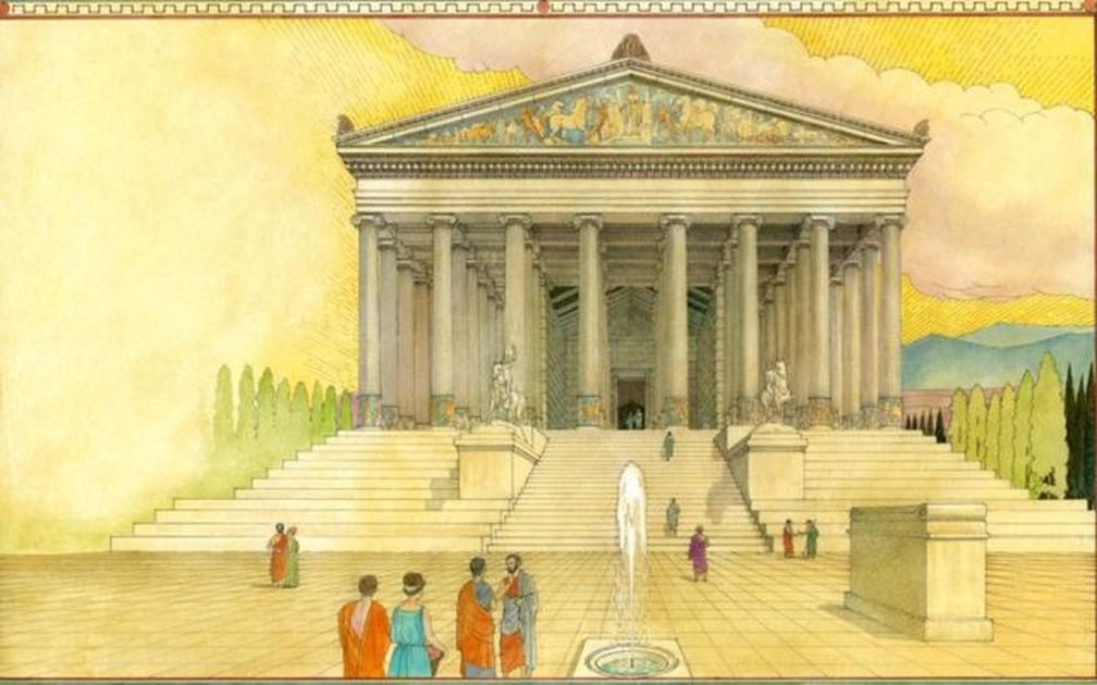 Em sua forma mais impressionante, o Templo de Ártemis tinha uma área de 6 mil m² e era adornado com esculturas, estátuas e 127 colunas — Foto: Getty Images via BBC