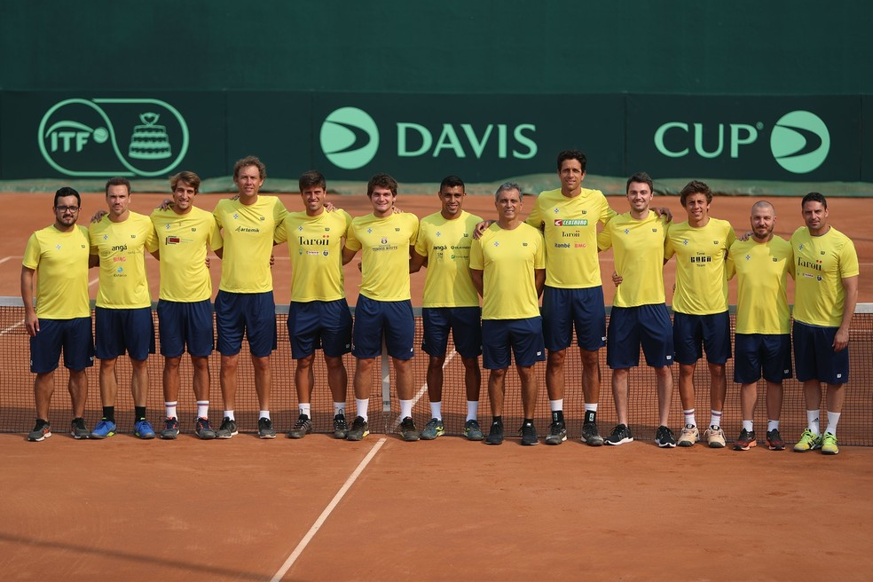 Time Brasil na Copa Davis de 2019, última edição do torneio — Foto: Luiz Candido/CBT