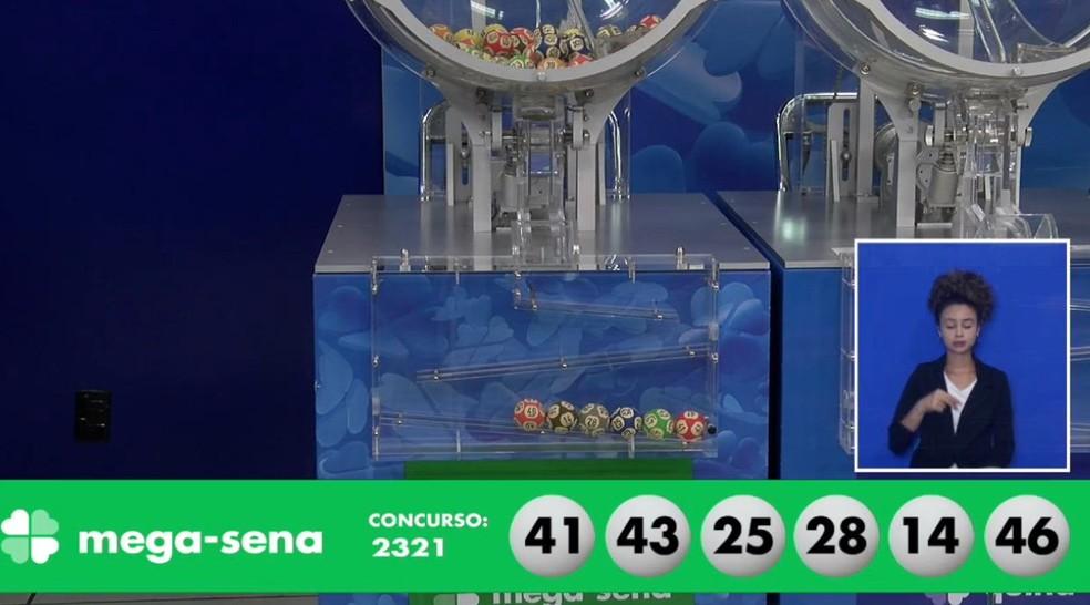 Resultado do concurso 2321 da Mega-Sena — Foto: Reprodução/Caixa