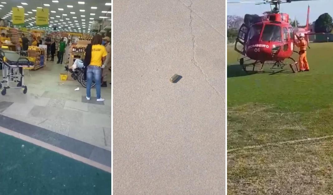 Cliente é baleado no rosto em assalto a supermercado em Saquarema; funcionária e bandido também ficam feridos
