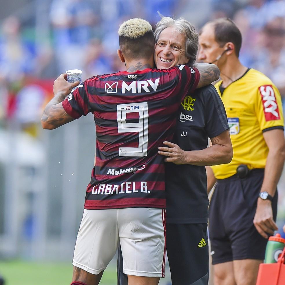 Gabigol e Jorge Jesus, Grêmio x Flamengo — Foto: Vinícius Costa/BP Filmes