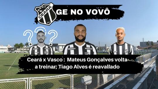 Ceará x Vasco: Tiago Alves é dúvida; Mateus Gonçalves volta a treinar